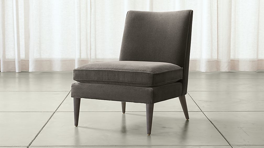 Callie grey slipper chair crate and barrel for Crate and barrel armless chair