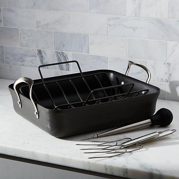 Non Stick Calphalon Roasting Pan Crate And Barrel