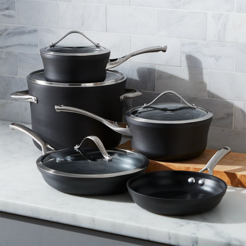 calphalon nonstick 9piece cookware set with bonus crate and barrel