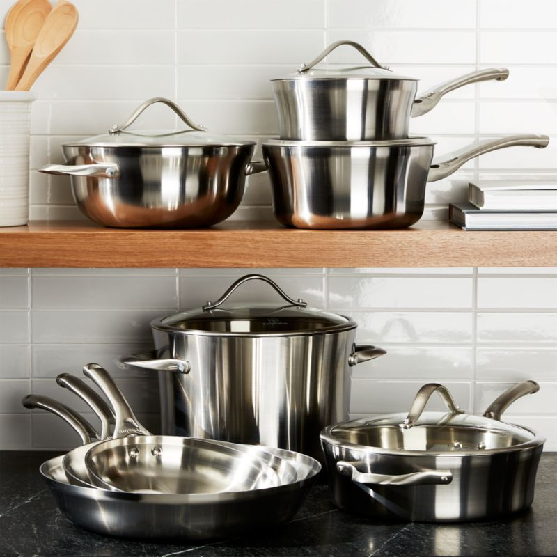 Calphalon Contemporary Stainless 13 Piece Cookware Set With Double Bonus Reviews Crate And Barrel