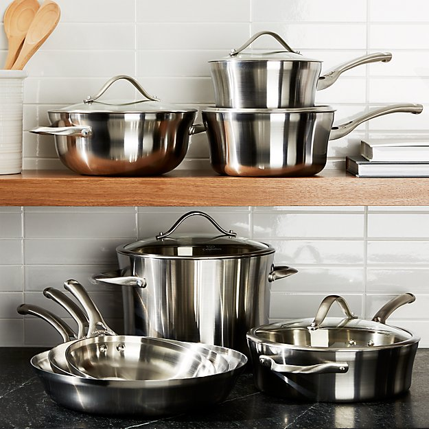 Calphalon Contemporary Stainless 13 Piece Cookware Set With Double Bonus In Sets Reviews Crate And Barrel