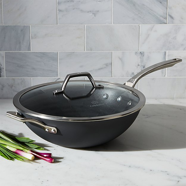 Calphalon Wok With Lid Nonstick Flat Bottom Reviews Crate And Barrel