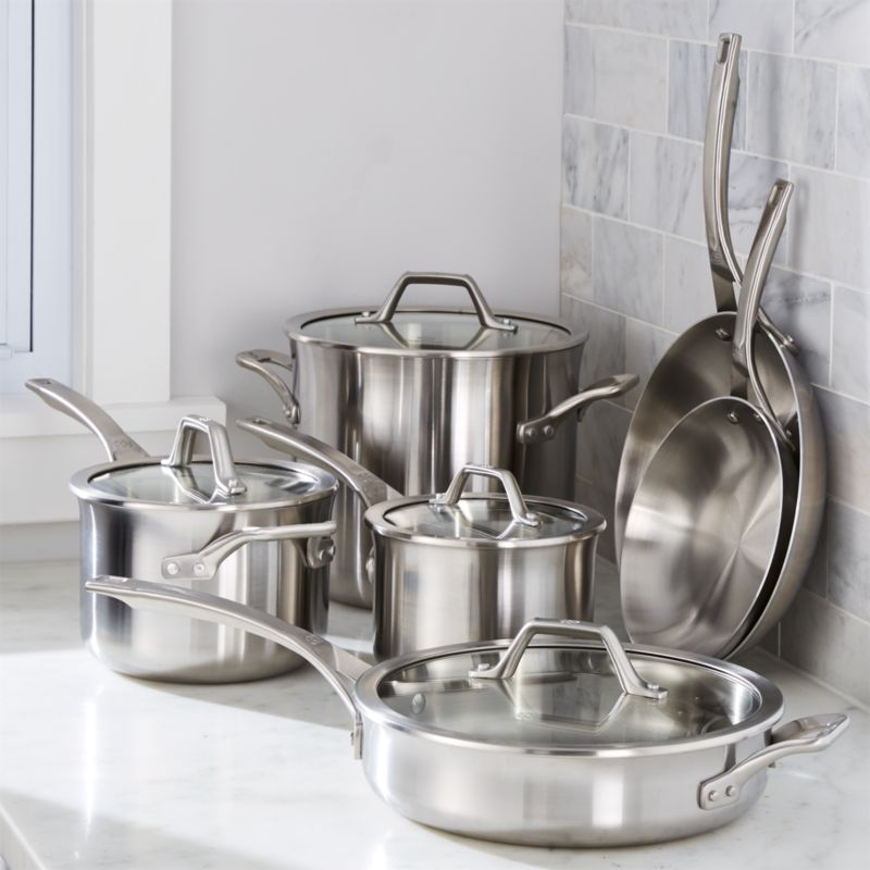 calphalon signature stainless steel 10piece cookware set with double bonus crate and barrel - Calphalon Tri Ply Stainless Steel