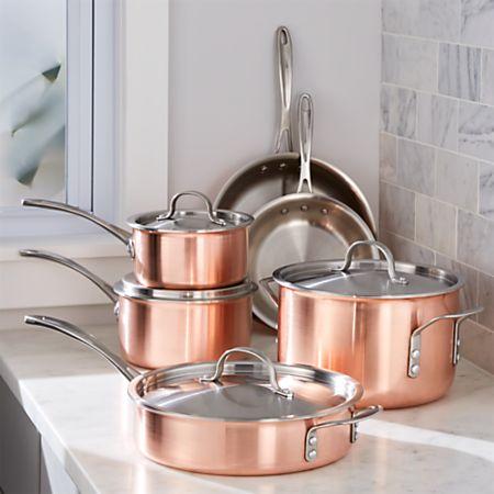 Copper Pan Reviews >> Calphalon Tri Ply Copper 10 Piece Cookware Set