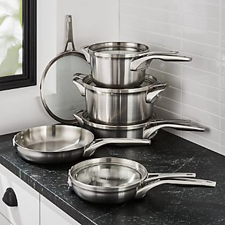 Calphalon ® Premier Stainless Steel Space-Saving 10-Piece Cookware Set