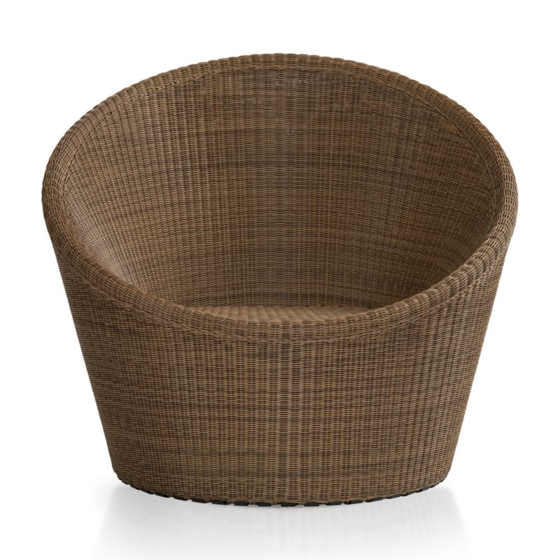 Cabana-style barrel chair handwoven of all-weather resin wicker swivels effortlessly thanks to inline wheels cleverly concealed underneath the base. Refined mocha wicker is constructed with a tight weave over a sturdy powdercoated steel frame. <NEWTAG/><ul><li>Hand-woven colorfast and UV-resistant resin wicker</li><li>Powdercoated galvanized steel frame</li><li>Inline wheels</li><li>Made in Indonesia</li></ul>