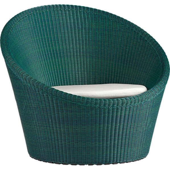 Calypso Bottle Green Swivel Lounge Chair with Sunbrella ® White Sand Cushion