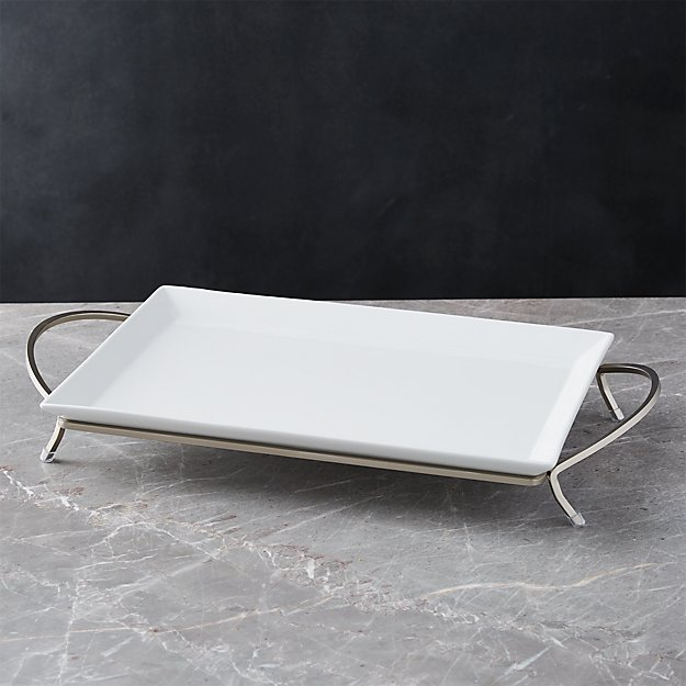 Cambridge Rectangular Serving Platter with Stand + Reviews | Crate on