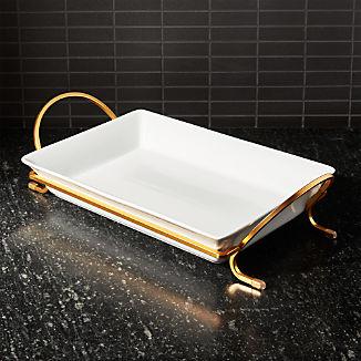 "Cambridge 13.75"" Gold Baking Dish with Rack"