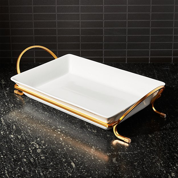 "Cambridge 13.75"" Gold Baking Dish with Rack - Image 1 of 5"