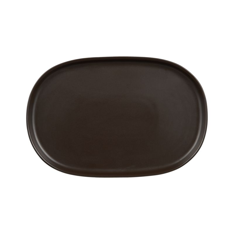 "Simple coupe shapes in coffee brown stoneware define contemporary everyday dining.<br /><br /><strong>Please note:</strong>The Camden Java 16""x10.5"" Platter is discontinued. When our current inventory is sold out, it is unlikely we will be able to obtain more.<br /><br /><NEWTAG/><ul><li>Stoneware</li><li>Dishwasher-, microwave- and oven-safe to 200 degrees</li><li>Made in Thailand</li></ul>"