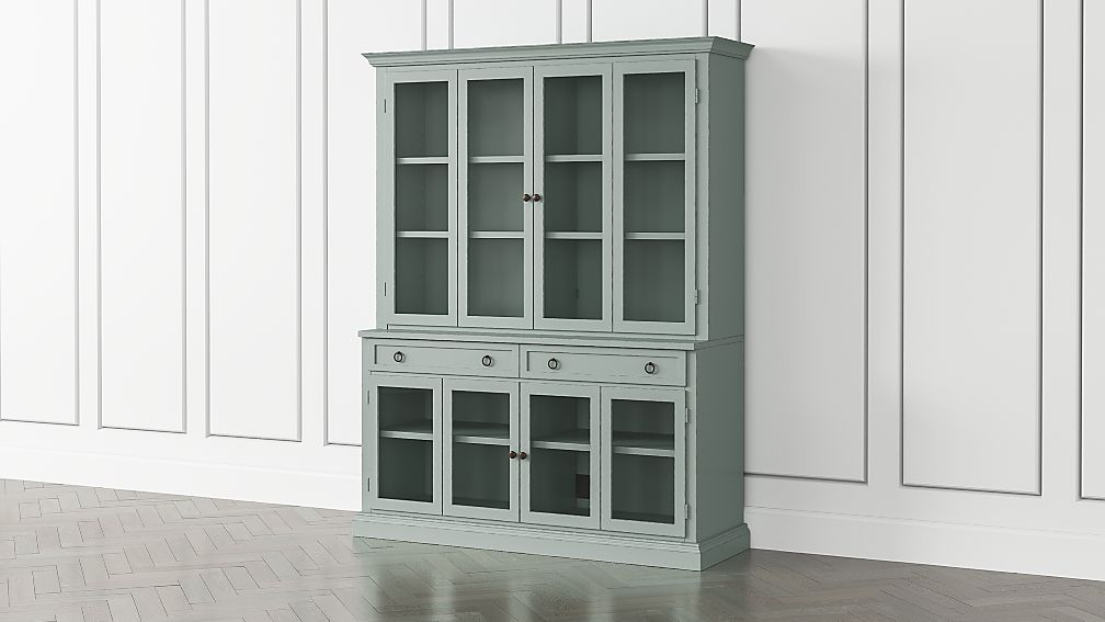 Cameo Blue Grey 2-Piece Entertainment Center with Glass Door - Image 1 of 5