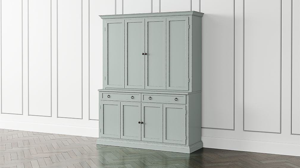 Cameo Blue Grey 2-Piece Entertainment Center with Wood Doors - Image 1 of 4