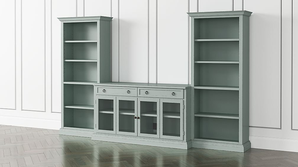 Cameo Blue Grey 3-Piece Glass Door Entertainment Center with Open Bookcases - Image 1 of 5