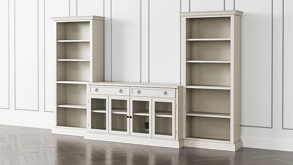 Cameo Dama 3-Piece Glass Door Entertainment Center with Open Bookcases - Image 1 of 5