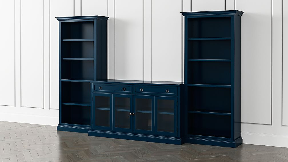 Cameo Indigo 3-Piece Glass Door Entertainment Center with Open Bookcases - Image 1 of 5