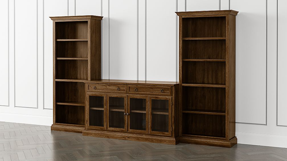 Cameo Nero Noce 3-Piece Glass Door Entertainment Center with Open Bookcases - Image 1 of 5
