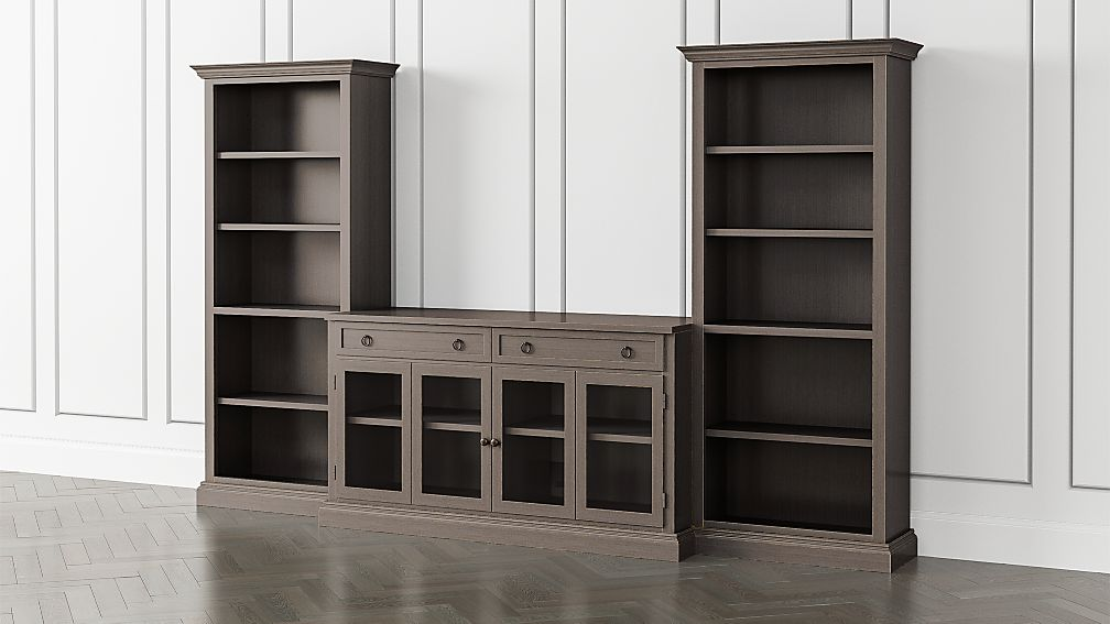 Cameo Grigio 3-Piece Glass Door Entertainment Center with Open Bookcases - Image 1 of 5