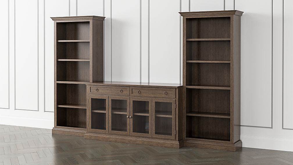 Cameo Pinot Lancaster 3-Piece Glass Door Entertainment Center with Open Bookcases - Image 1 of 5
