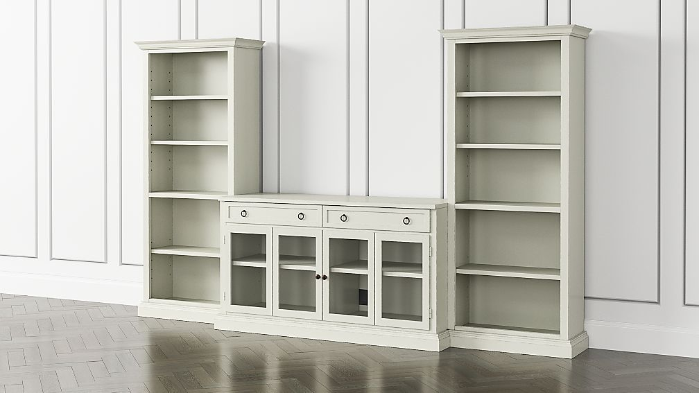 Cameo Vamelie 3-Piece Glass Door Entertainment Center with Open Bookcases - Image 1 of 5