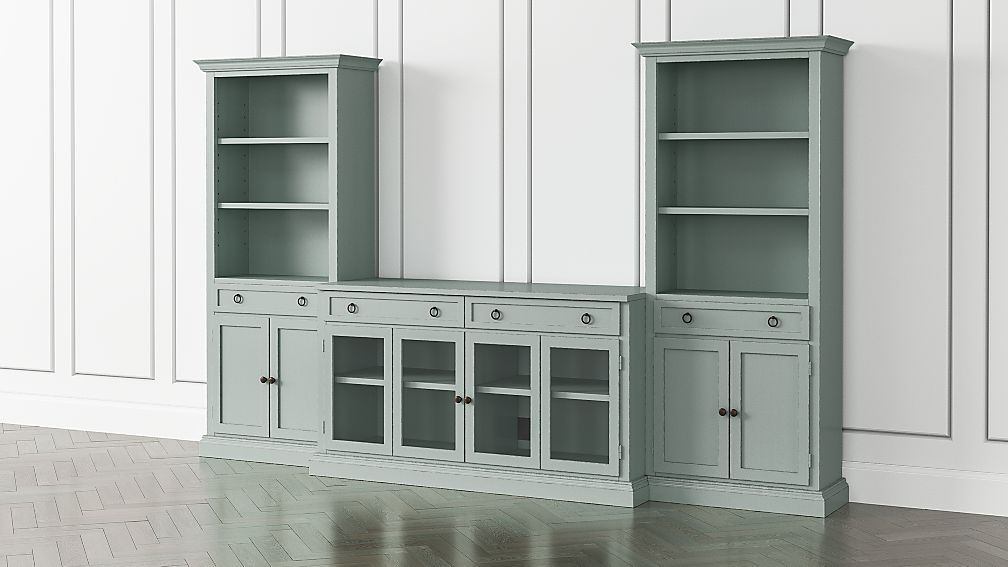 Cameo Blue Grey 3-Piece Glass Door Entertainment Center with Storage Bookcases - Image 1 of 5