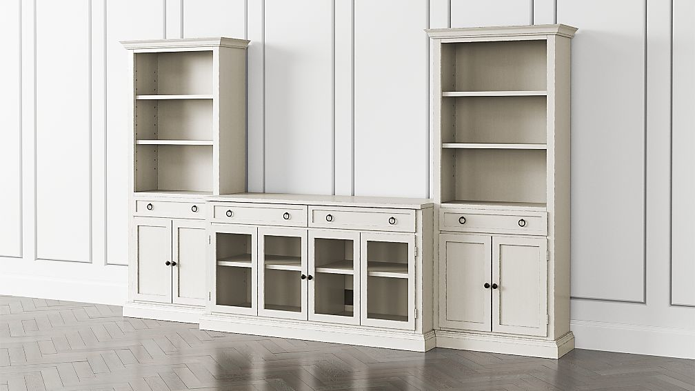 Cameo Dama 3-Piece Glass Door Entertainment Center with Storage Bookcases - Image 1 of 5