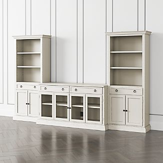 cameo dama 3 piece glass door entertainment center with storage bookcases - Glass Entertainment Center