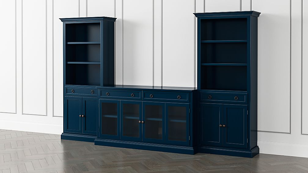 Cameo Indigo 3-Piece Glass Door Entertainment Center with Storage Bookcases - Image 1 of 5