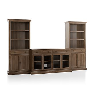 Cameo Nero Noce 3 Piece Gl Door Entertainment Center With Open Bookcases