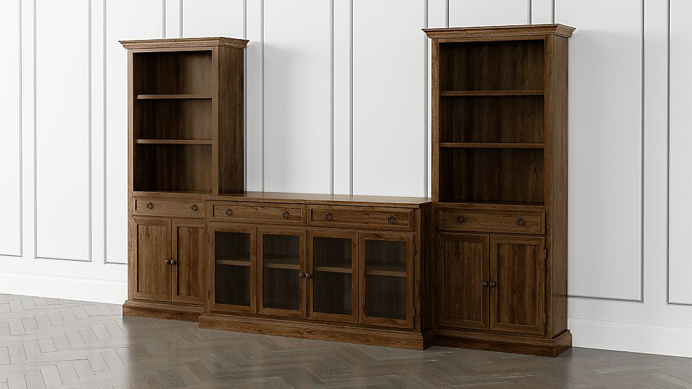 Cameo Nero Noce 3-Piece Glass Door Entertainment Center with Storage Bookcases - Image 1 of 5