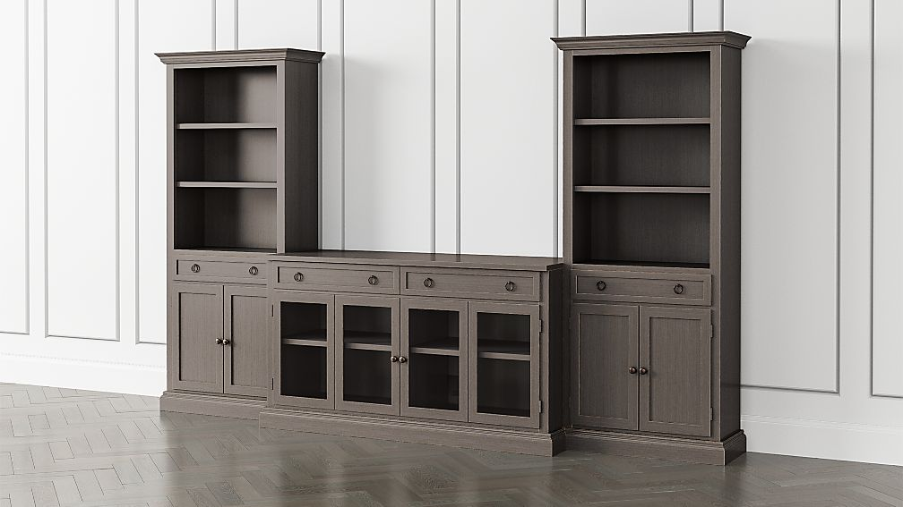 Cameo Grigio 3-Piece Glass Door Entertainment Center with Storage Bookcases - Image 1 of 5