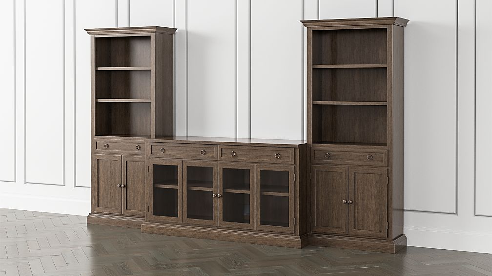 Cameo Pinot Lancaster 3-Piece Glass Door Entertainment Center with Storage Bookcases - Image 1 of 6