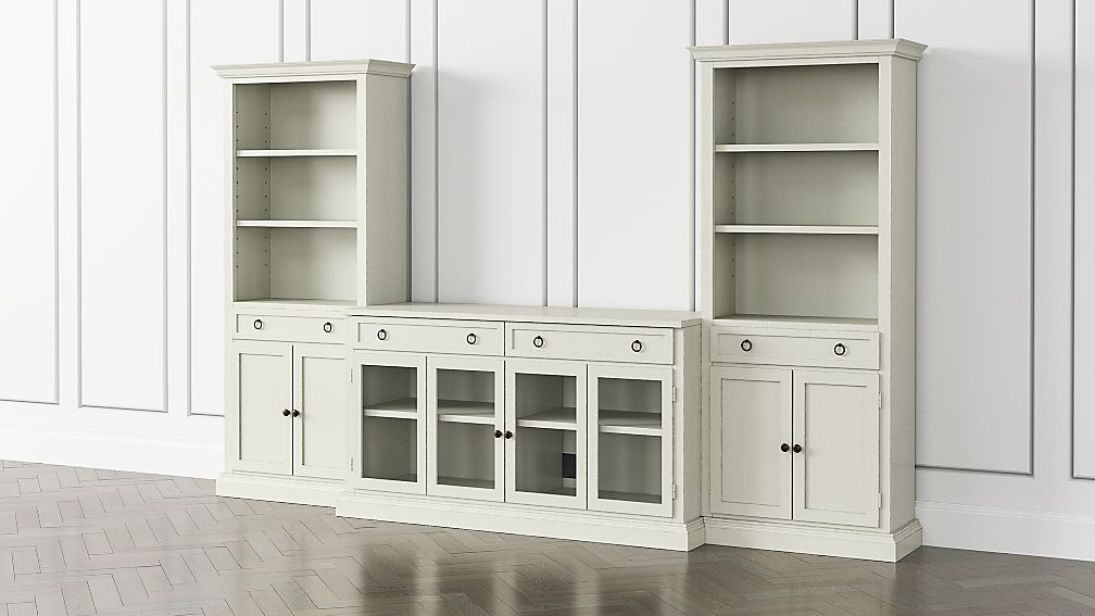 Cameo Vamelie 3-Piece Glass Door Entertainment Center with Storage Bookcases - Image 1 of 5