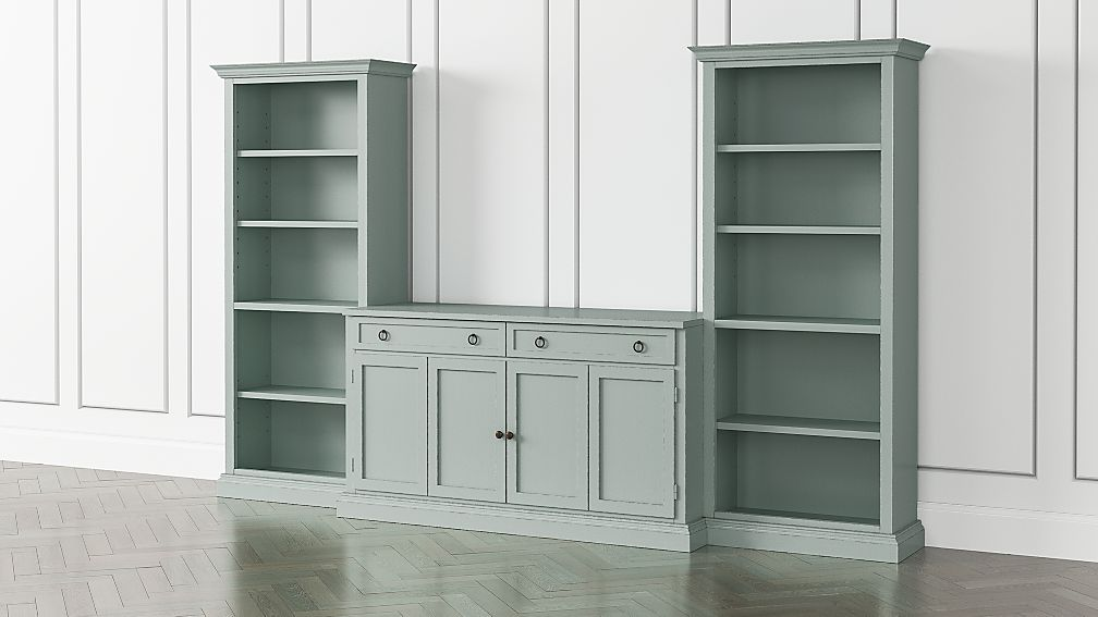 Cameo Blue Grey 3-Piece Entertainment Center with Open Bookcases - Image 1 of 4