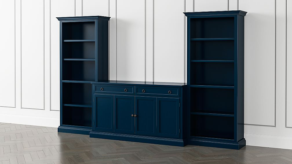 Cameo Indigo 3-Piece Entertainment Center with Open Bookcases - Image 1 of 4