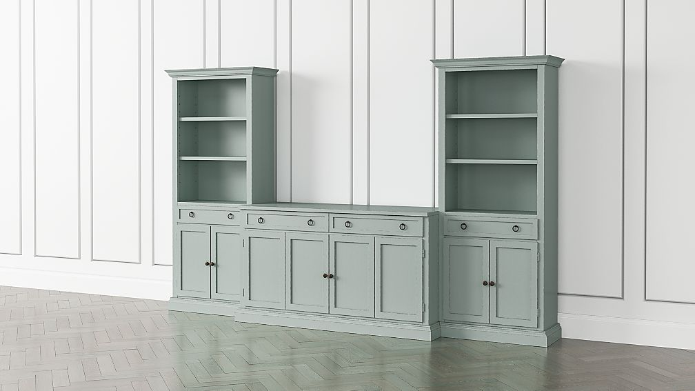 Cameo Blue Grey 3-Piece Entertainment Center with Storage Bookcases - Image 1 of 5