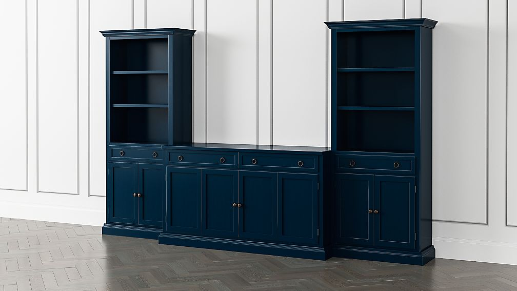 Cameo Indigo 3-Piece Entertainment Center with Storage Bookcases - Image 1 of 5