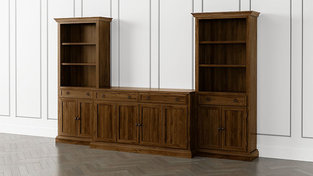 Cameo Nero Noce 3-Piece Entertainment Center with Storage Bookcases - Image 1 of 5