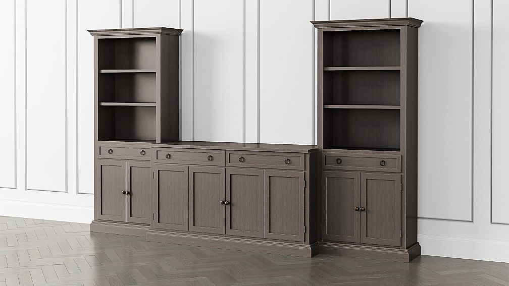 Cameo Grigio 3-Piece Entertainment Center with Storage Bookcases - Image 1 of 5
