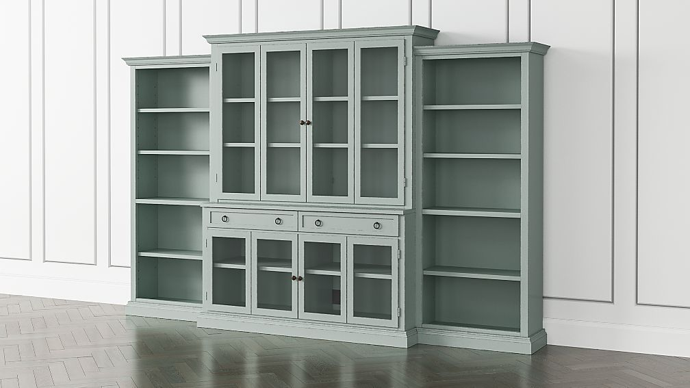 Cameo Blue Grey 4 Piece Gl Door Wall Unit With Open Bookcase Reviews Crate And Barrel