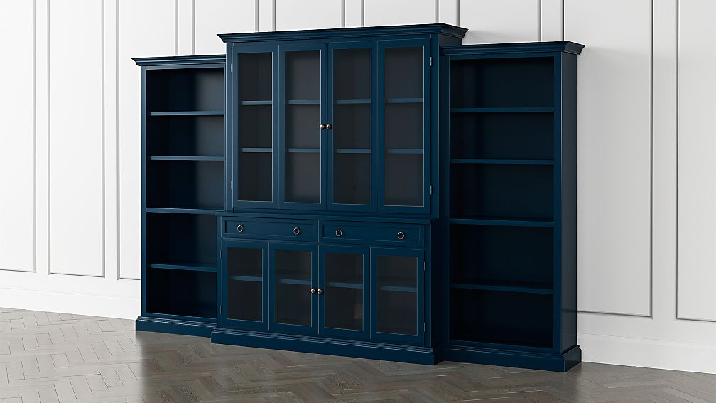 Cameo Indigo 4 Piece Glass Door Wall Unit With Open Bookcases