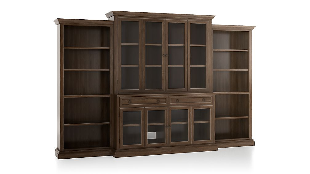 Cameo Nero Noce 4 Piece Glass Door Wall Unit With Open Bookcase