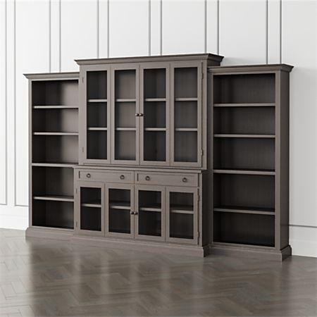Cameo Grigio 4 Piece Glass Door Wall Unit With Open Bookcase