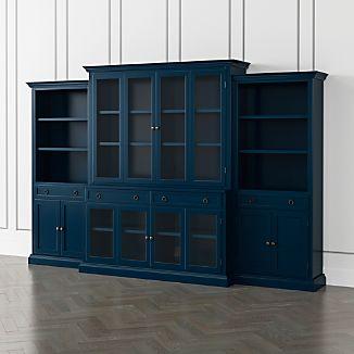 Cameo Indigo 4 Piece Glass Door Wall Unit With Storage Bookcases