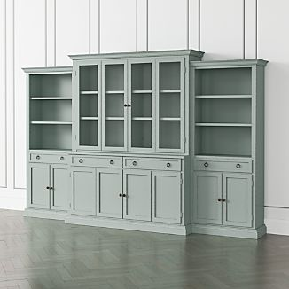 Cameo Blue Grey 4 Piece Glass And Wood Door Wall Unit With Storage Bookcase