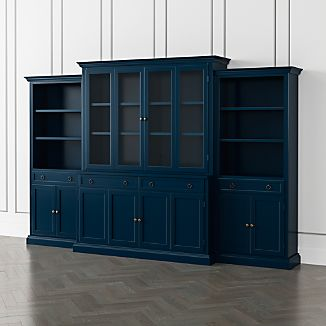 Cameo Indigo 4 Piece Gl And Wood Door Wall Unit With Storage Bookcases