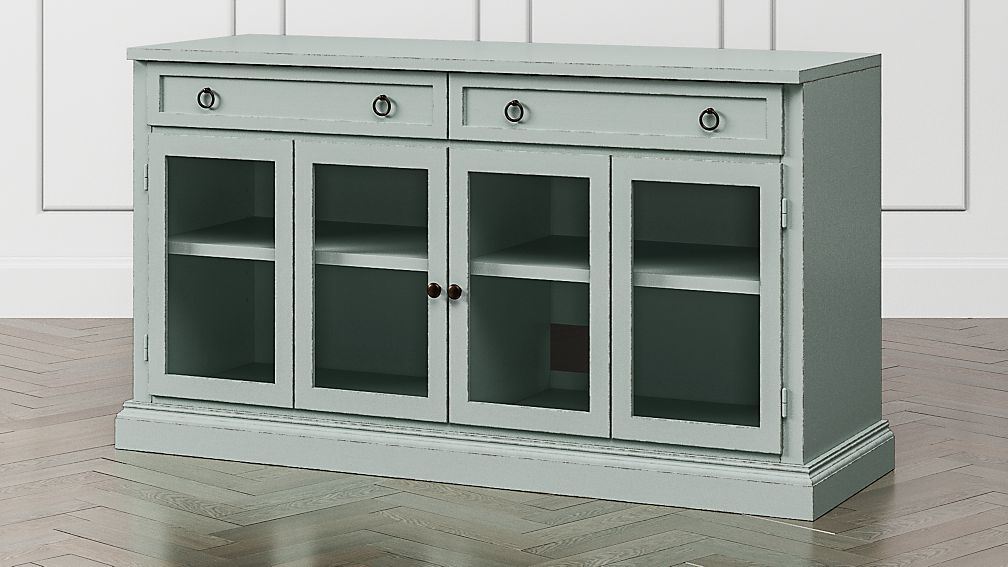 "Cameo 62"" Blue Grey Modular Media Console with Glass Doors - Image 1 of 6"