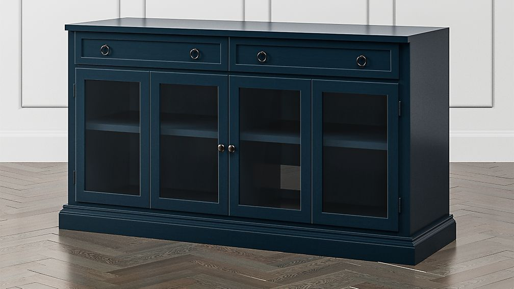 "Cameo 62"" Indigo Modular Media Console with Glass Doors - Image 1 of 6"