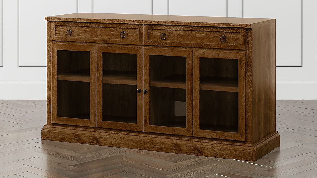 """Cameo Nero Noce 62"""" Modular Media Console with Glass Doors - Image 1 of 6"""