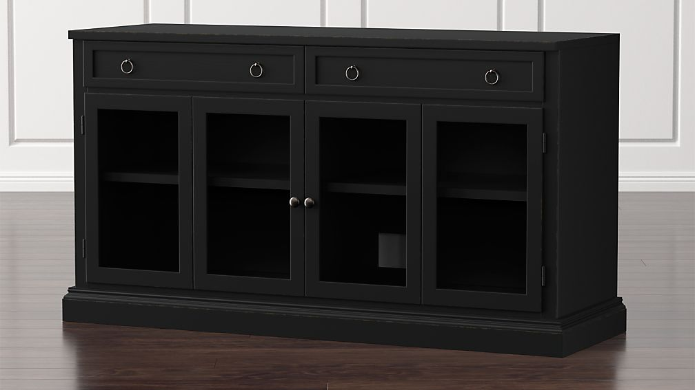 "Cameo 62"" Bruno Black Modular Media Console with Glass Doors - Image 1 of 10"